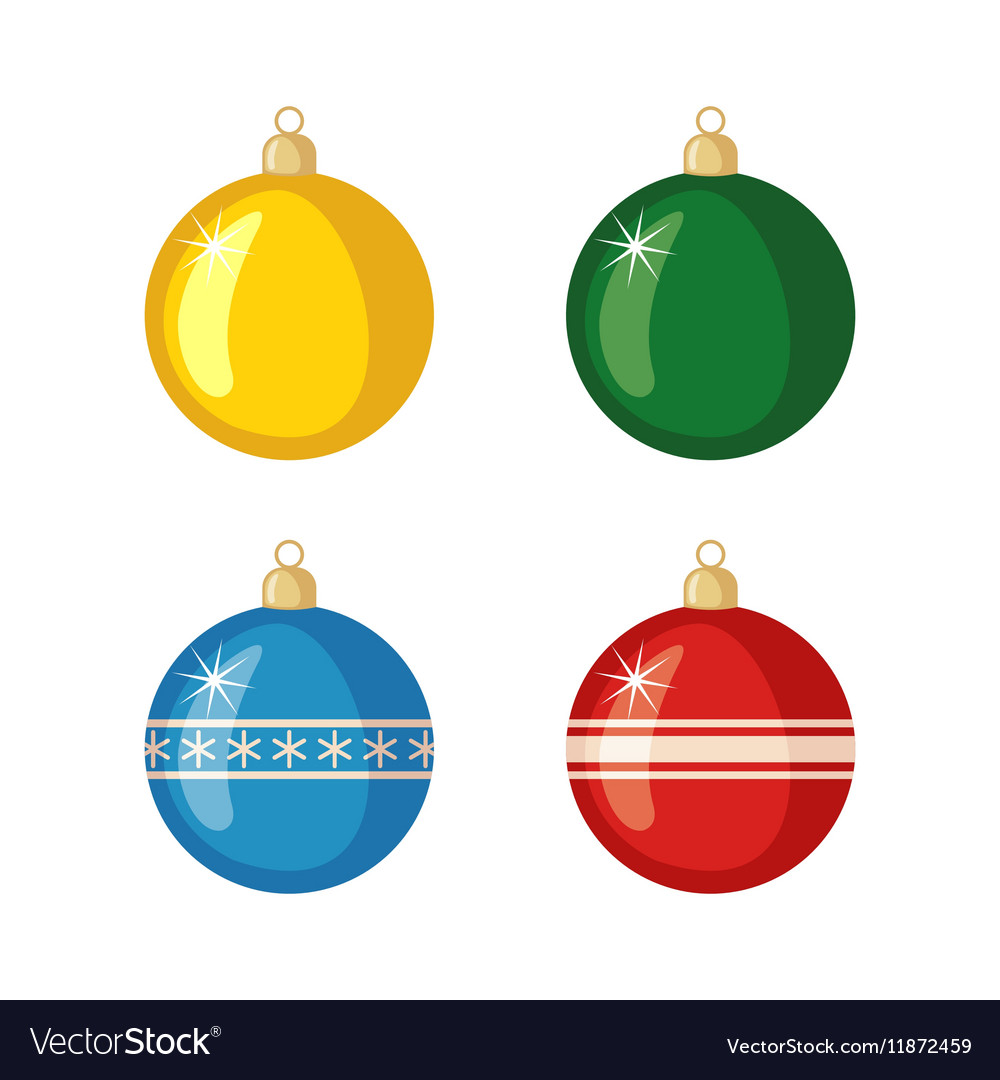 Set of Christmas balls icons in flat style