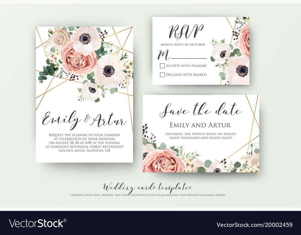 Ways To Save On Wedding Invitations: Wedding Invite Rsvp Save The Date Carad Design Vector Image