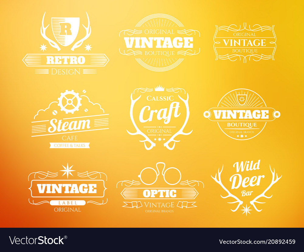 White vintage hipster logos and labels set