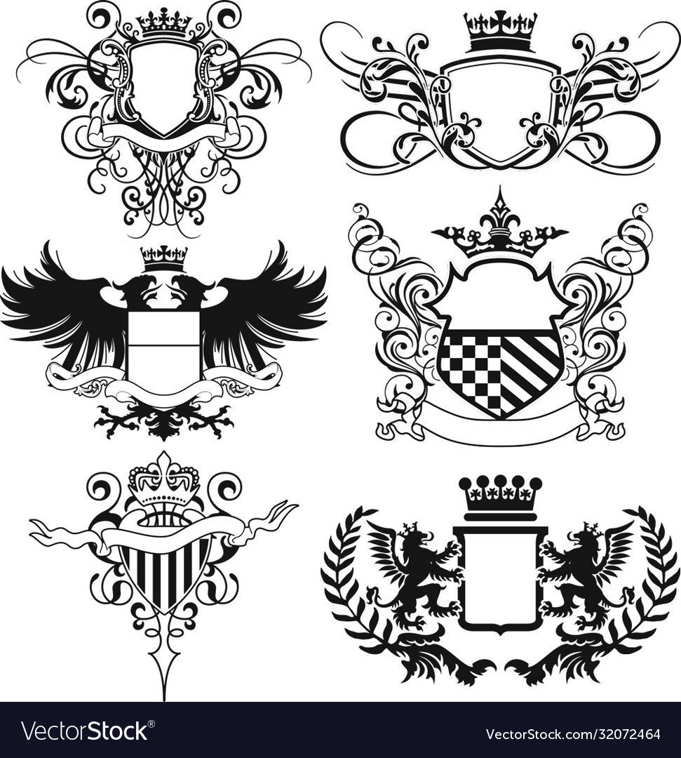 Abstract flourished heraldry crest shields