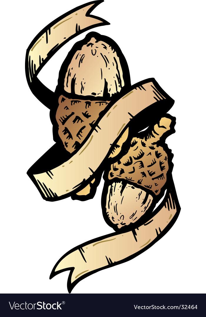 Acorn banner tattoo style illustration