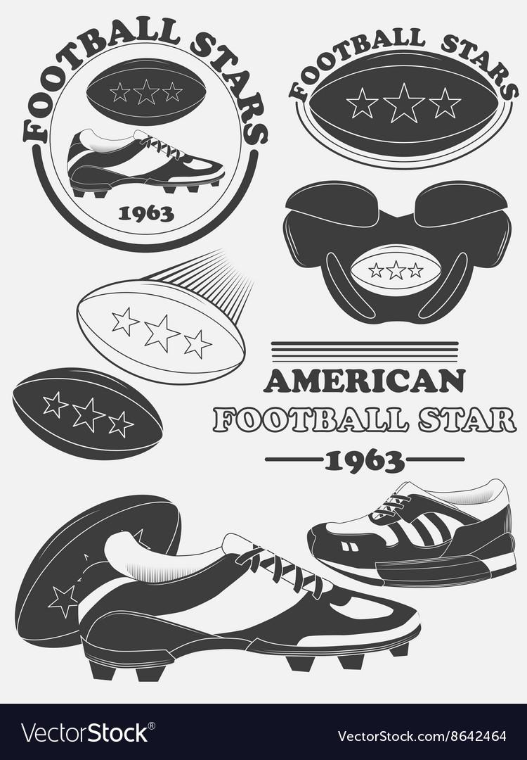 American football fantasy league labels emblems