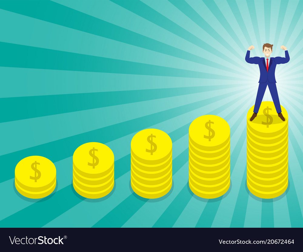 Businessman standing on pinnacle of coins