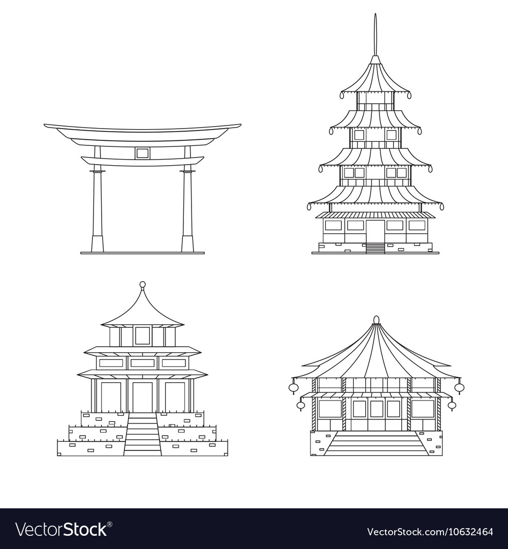 Chinees Building Thin Line Set vector image
