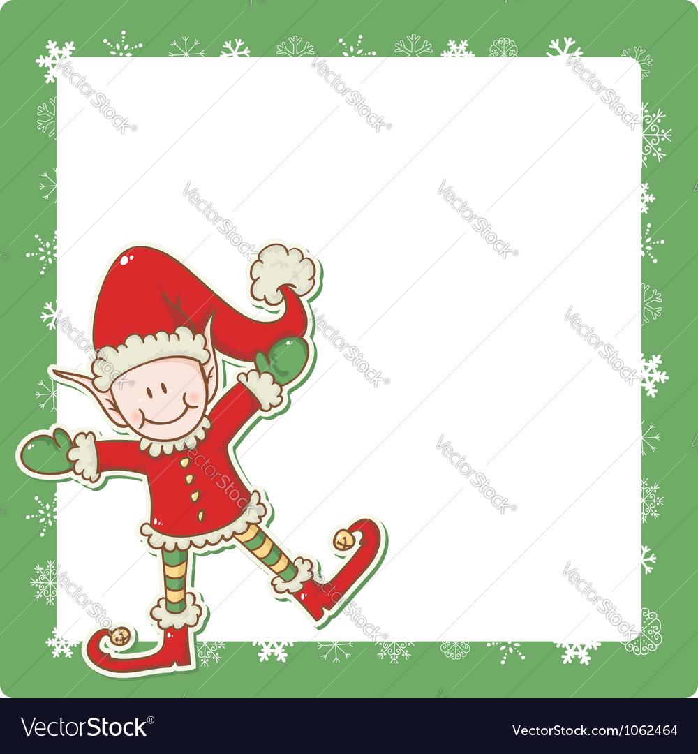 christmas card with cute little elf santa helper vector image - Elf Christmas Card