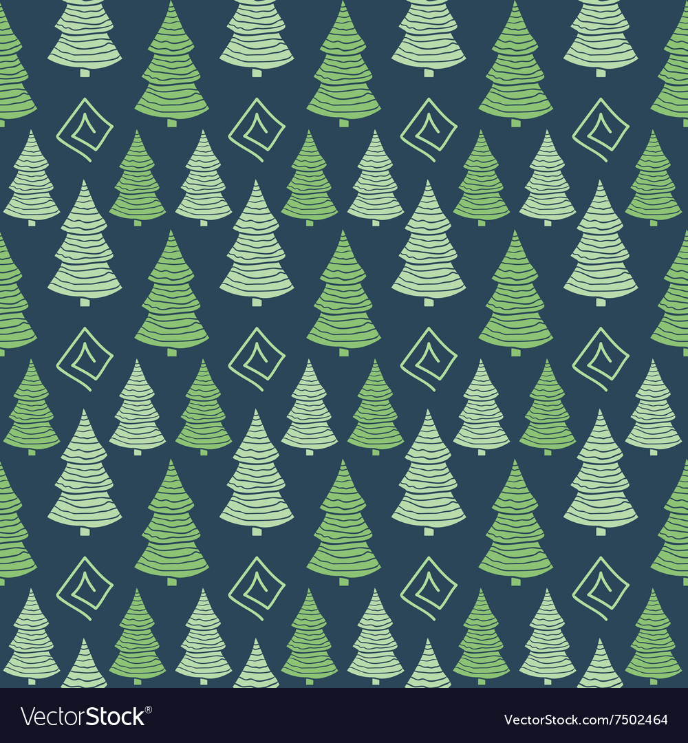 Christmas green tree seamless pattern vector image