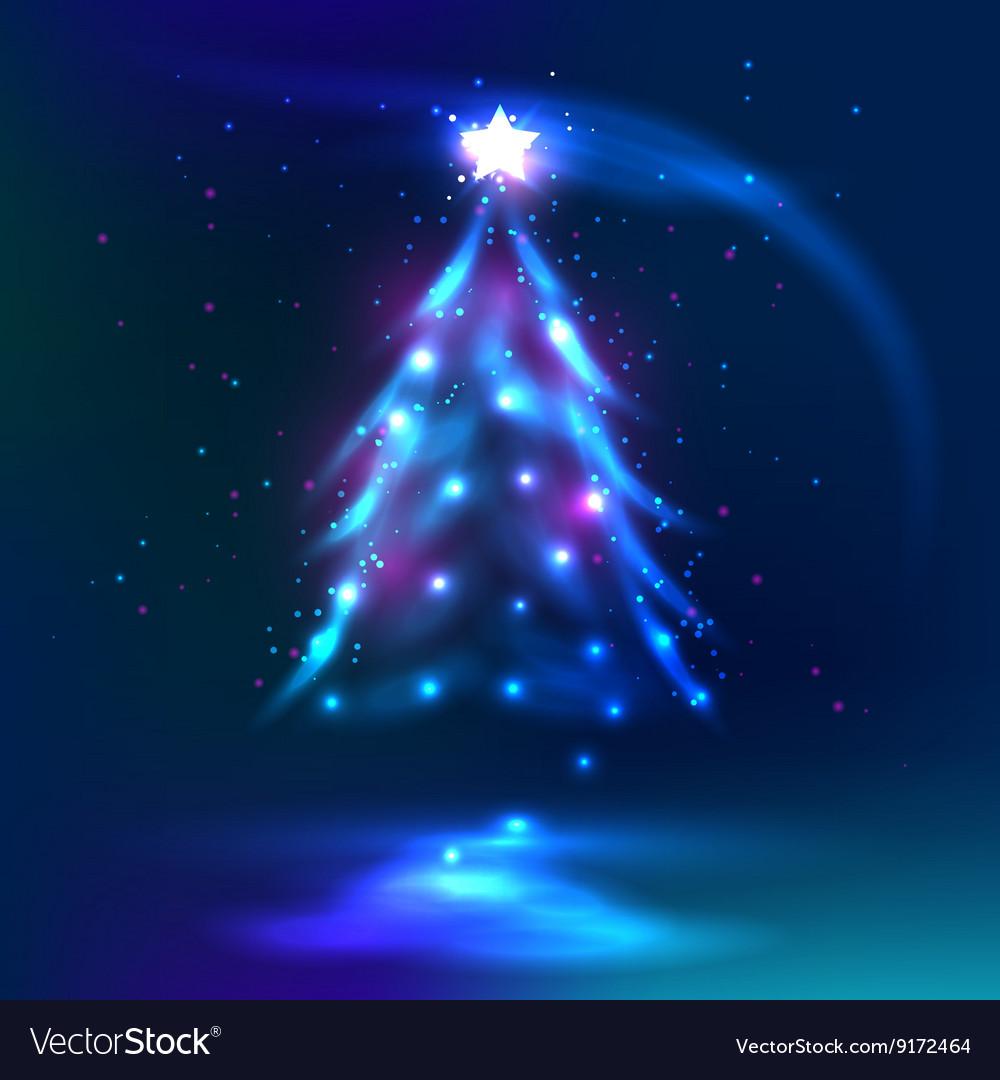 Christmas tree dark glowing background
