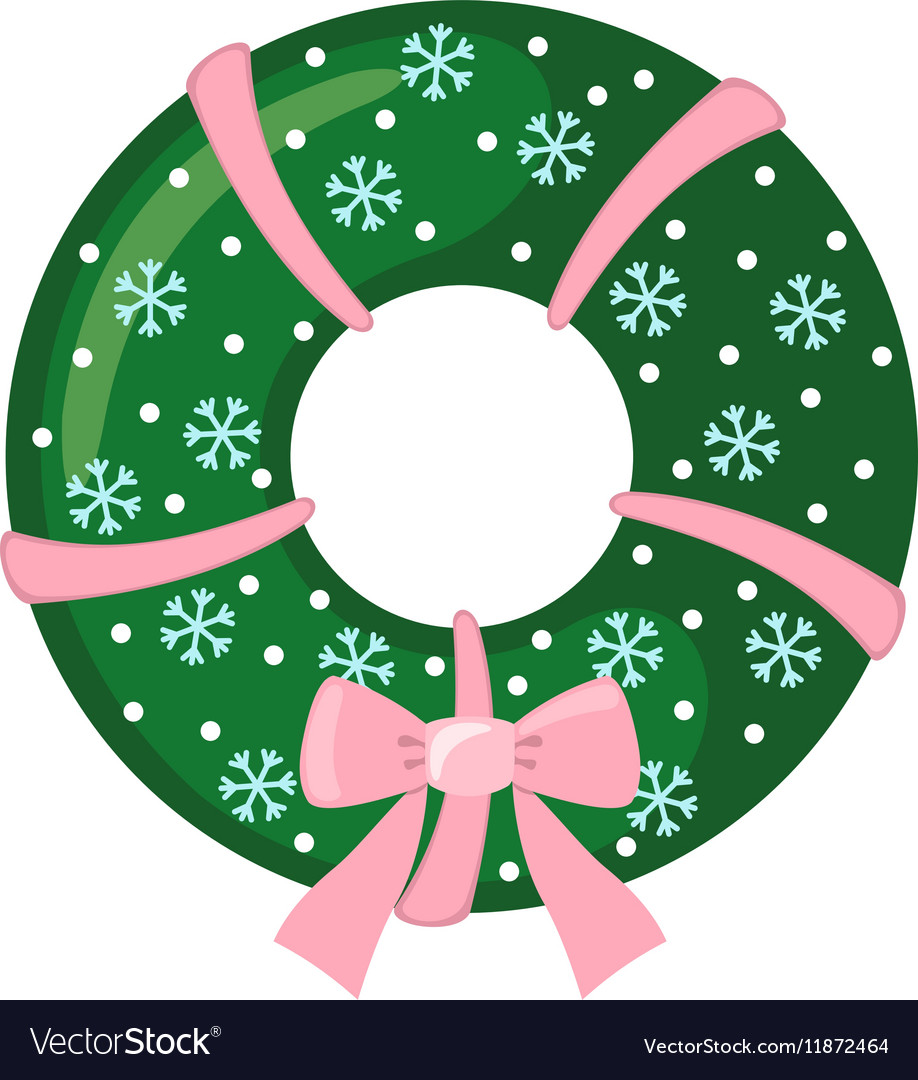 Christmas Wreath icon in flat style