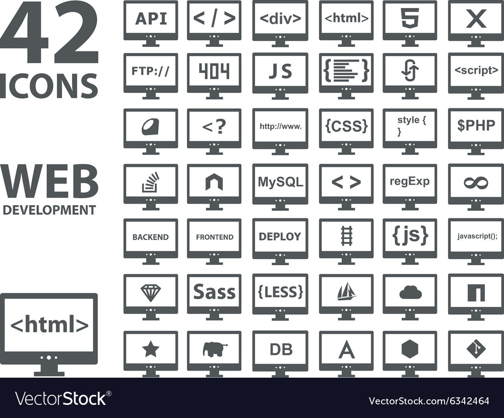 Collection of web development icons html