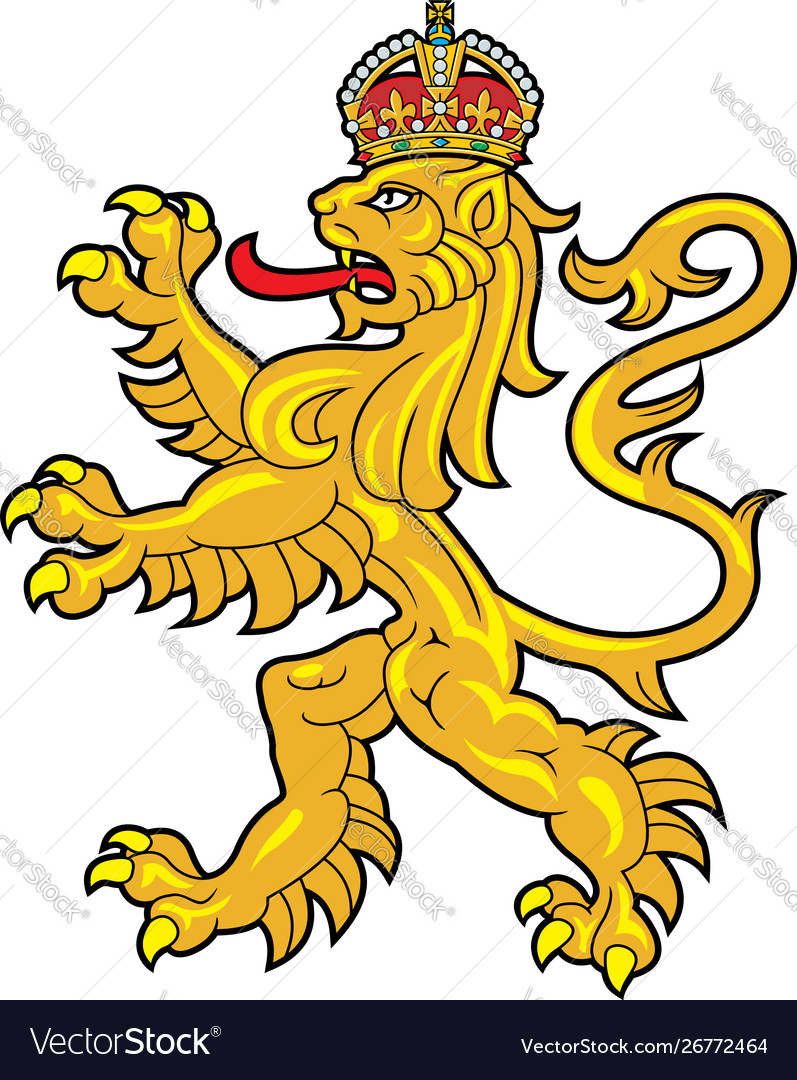 Crowed heraldic lion