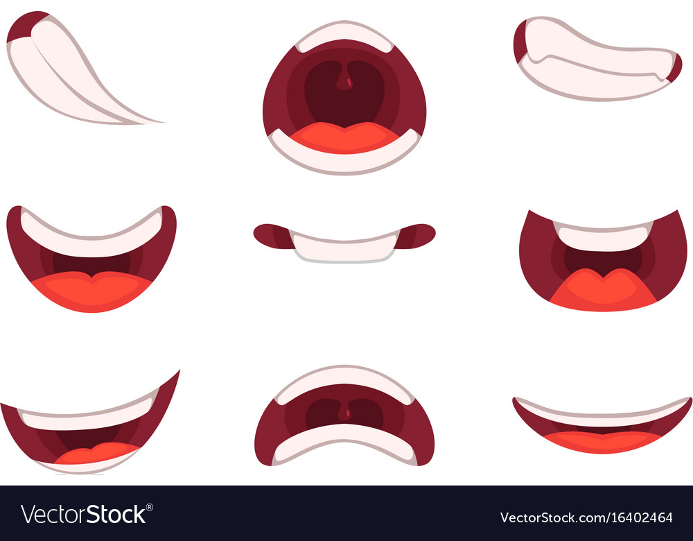 Different emotions of cartoon mouths with funny