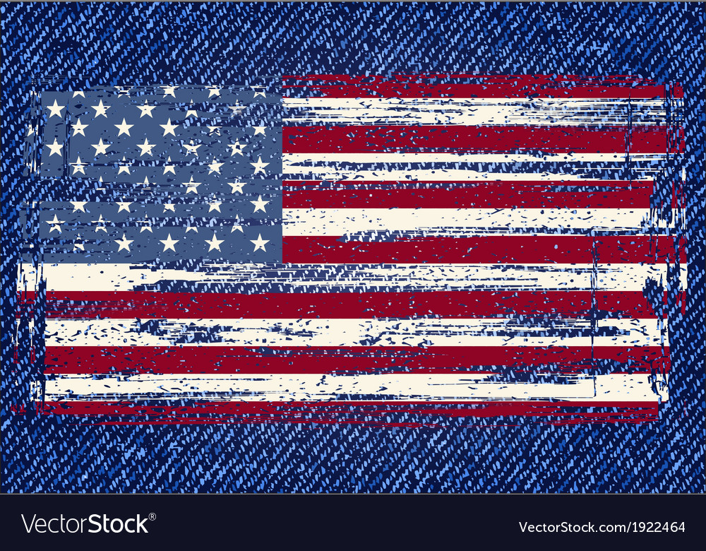 Grunge American flag on jeans background vector image