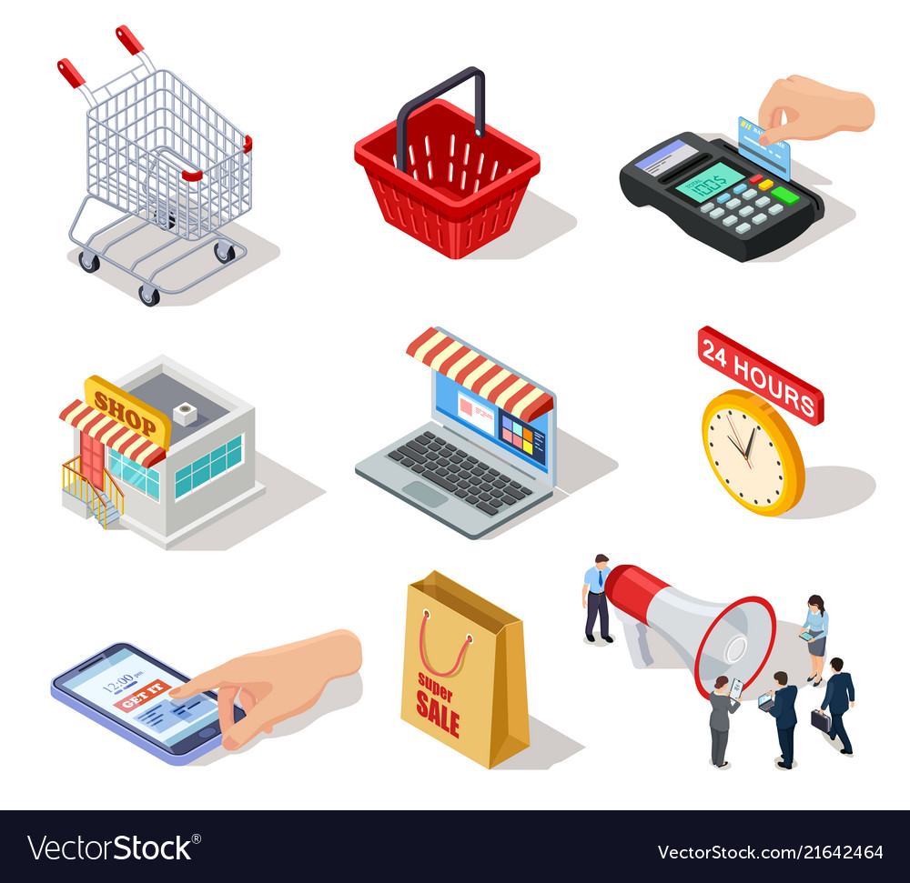 Isometric shopping icons ecommerce store online