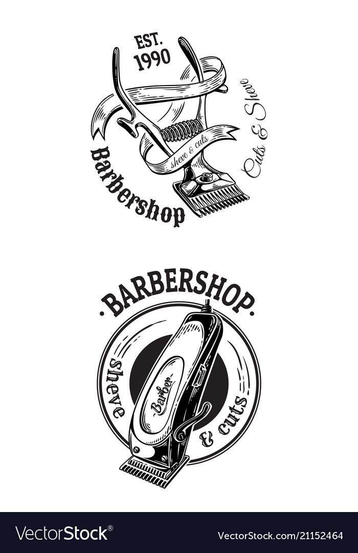 Set vintage barbershop emblems labels badges
