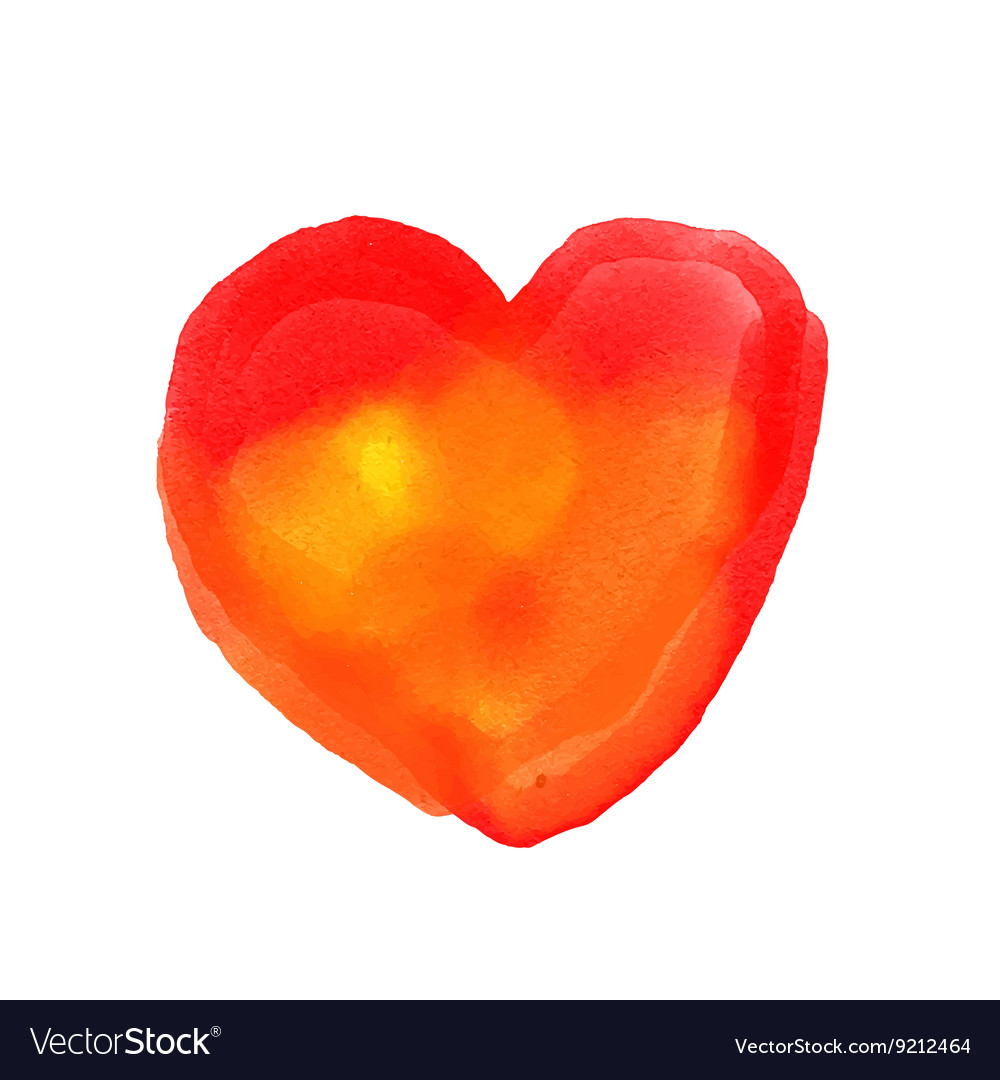 Watercolor painted red heart element for