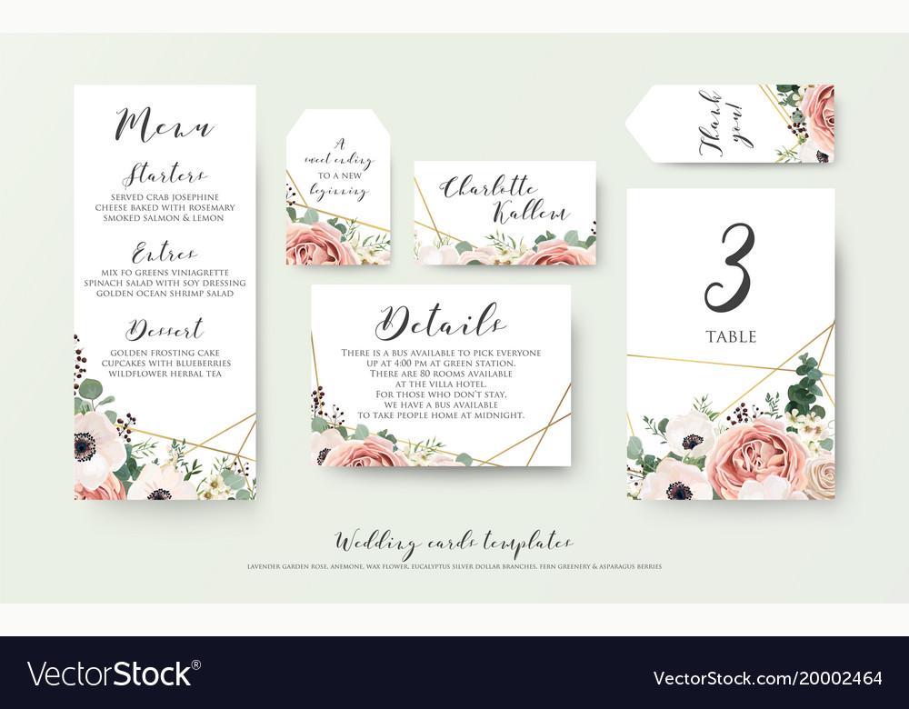 Wedding Menu Information Label Table Number Set Vector Image - Table 24 menu