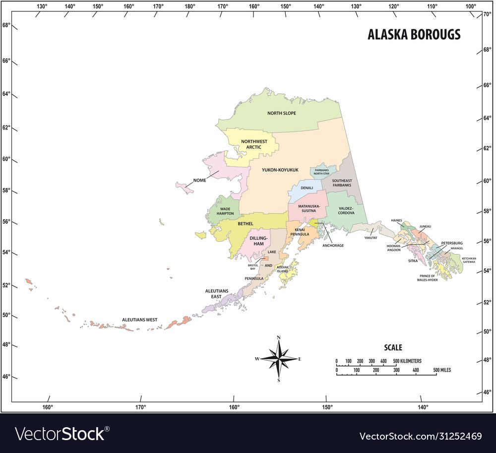 Alaska state outline administrative map