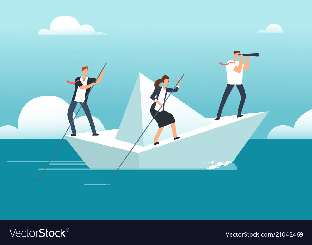 Business team with leader sailing on paper boat in