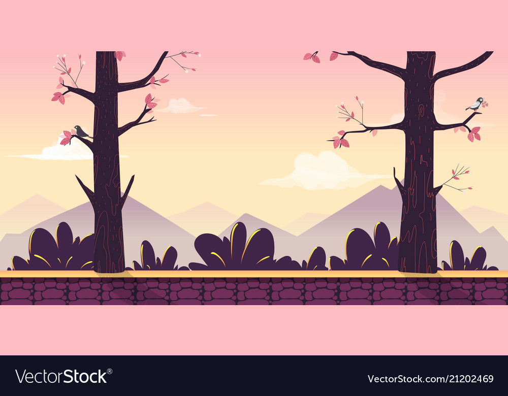 Cartoon nature landscape with trees bushes vector image