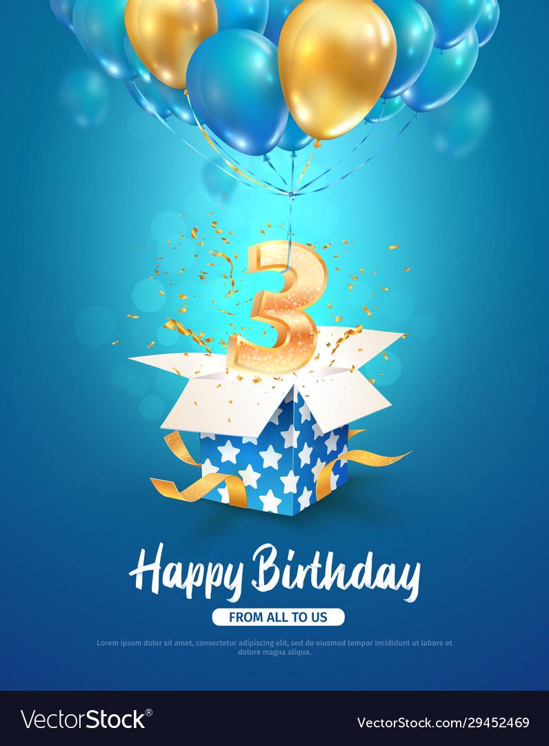 Celebrating three years birthday 3d