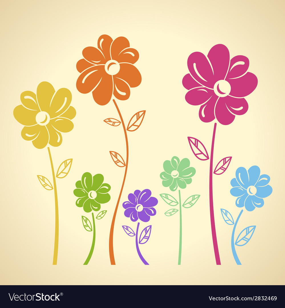 Colourful flowers pattern background Green yellow