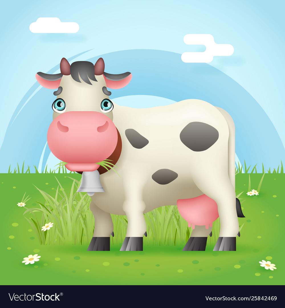 Cow eat grass standing farm mammal cute animal