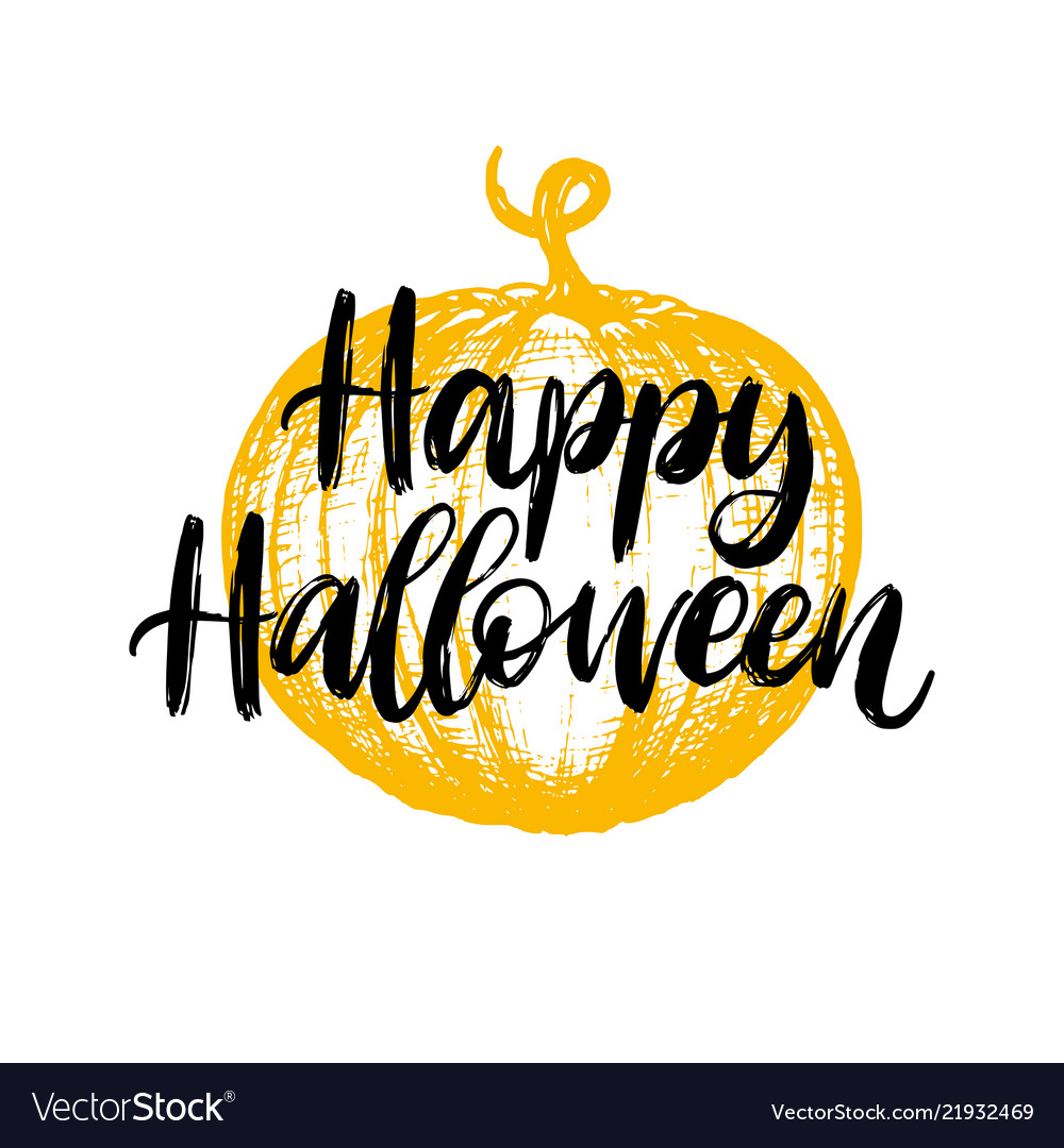 Happy Halloween Hand Lettering Royalty Free Vector Image