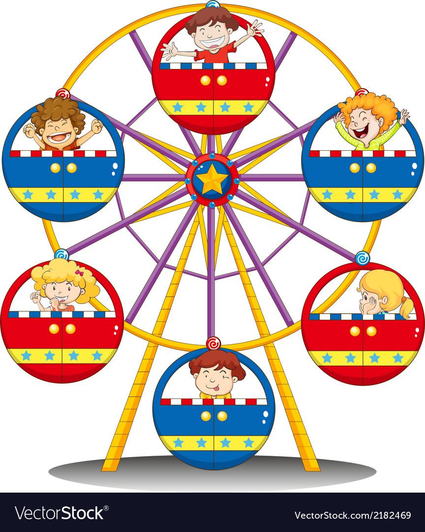 Happy kids riding the ferris wheel