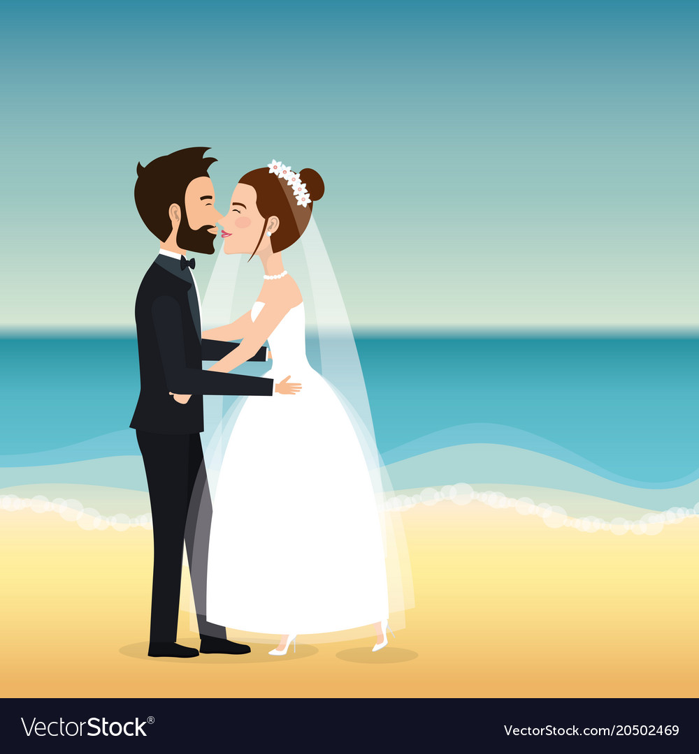 Just Married In The Beach Vector Image