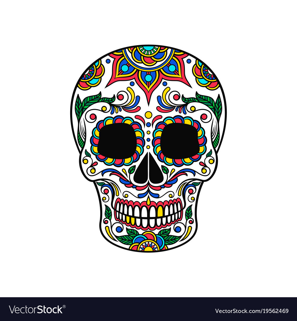 Mexican sugar skull with colorful floral ornament