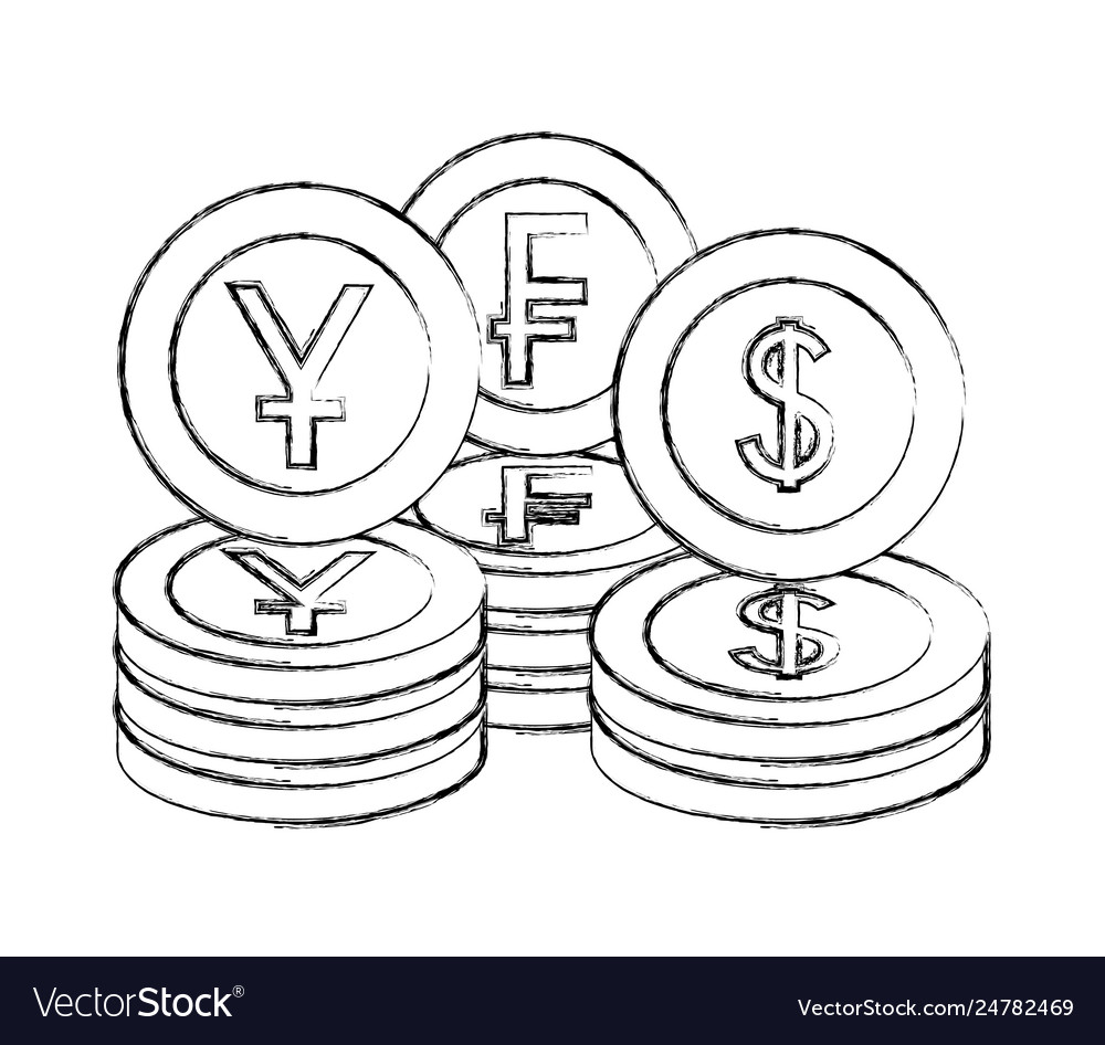Coins Yen Franc And Dollar Vector Image
