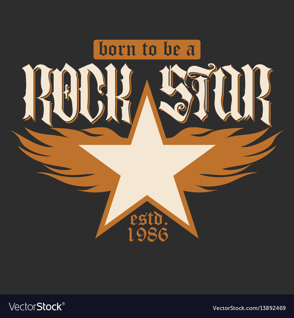 Rock star lettering vector image