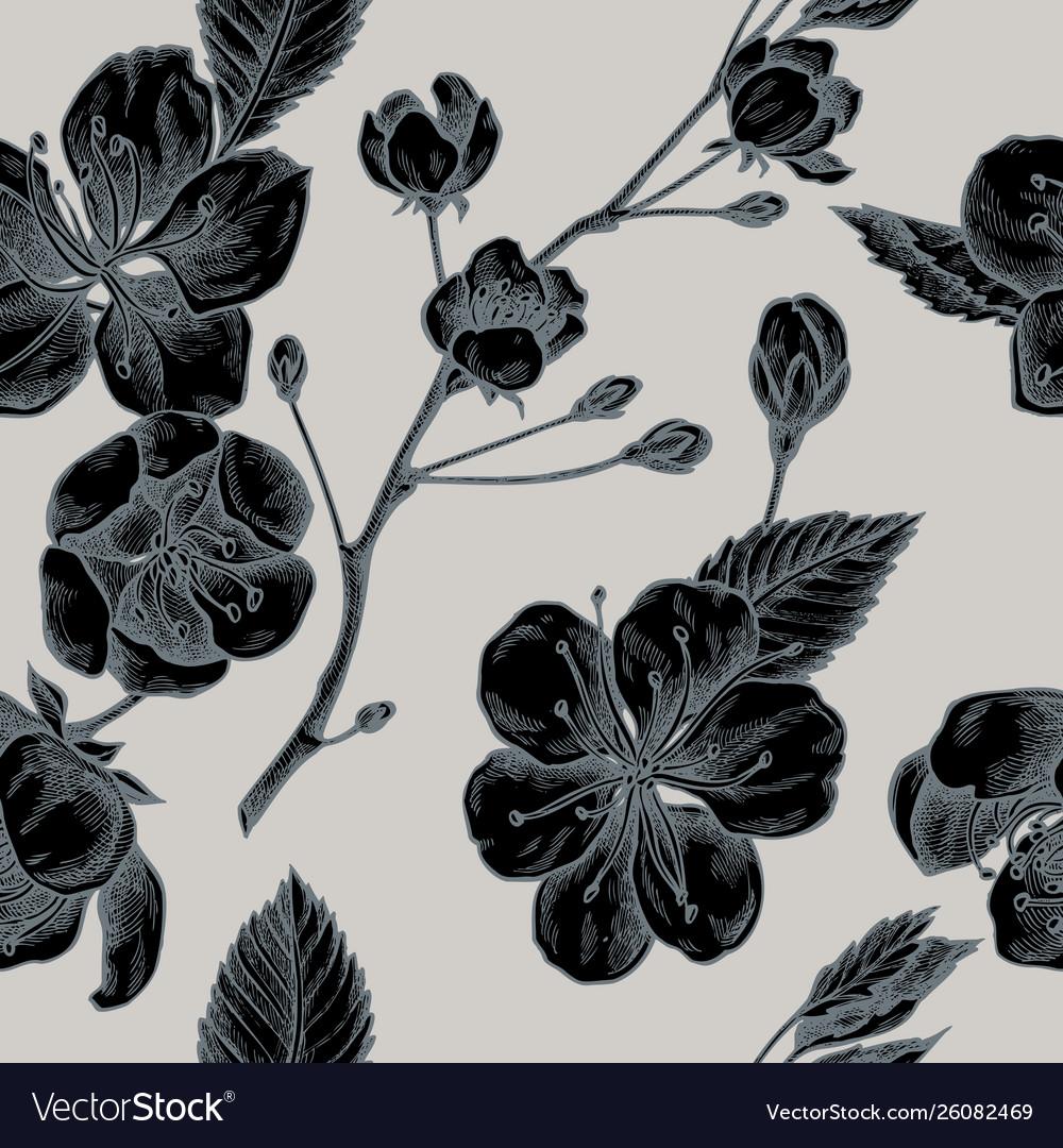 Seamless pattern with hand drawn stylized sakura