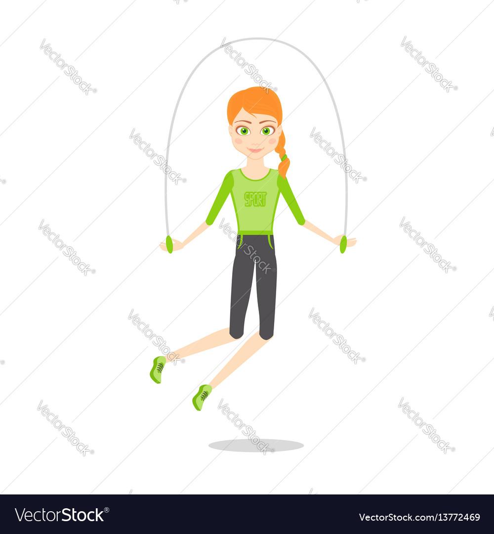 Sportswoman character cartoon flat vector image