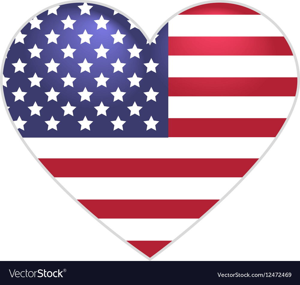 Symbol US flag heart shape