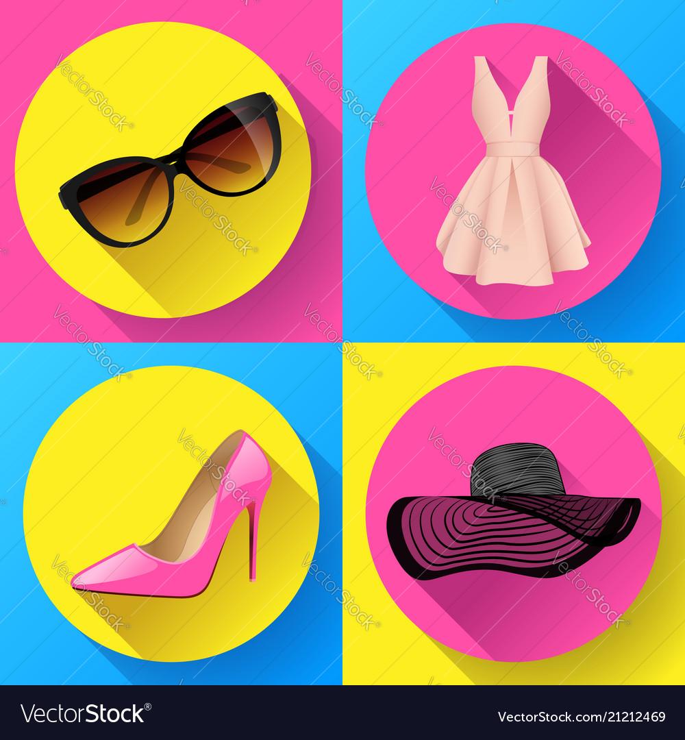 Woman fashion dress icon set - sunglasses
