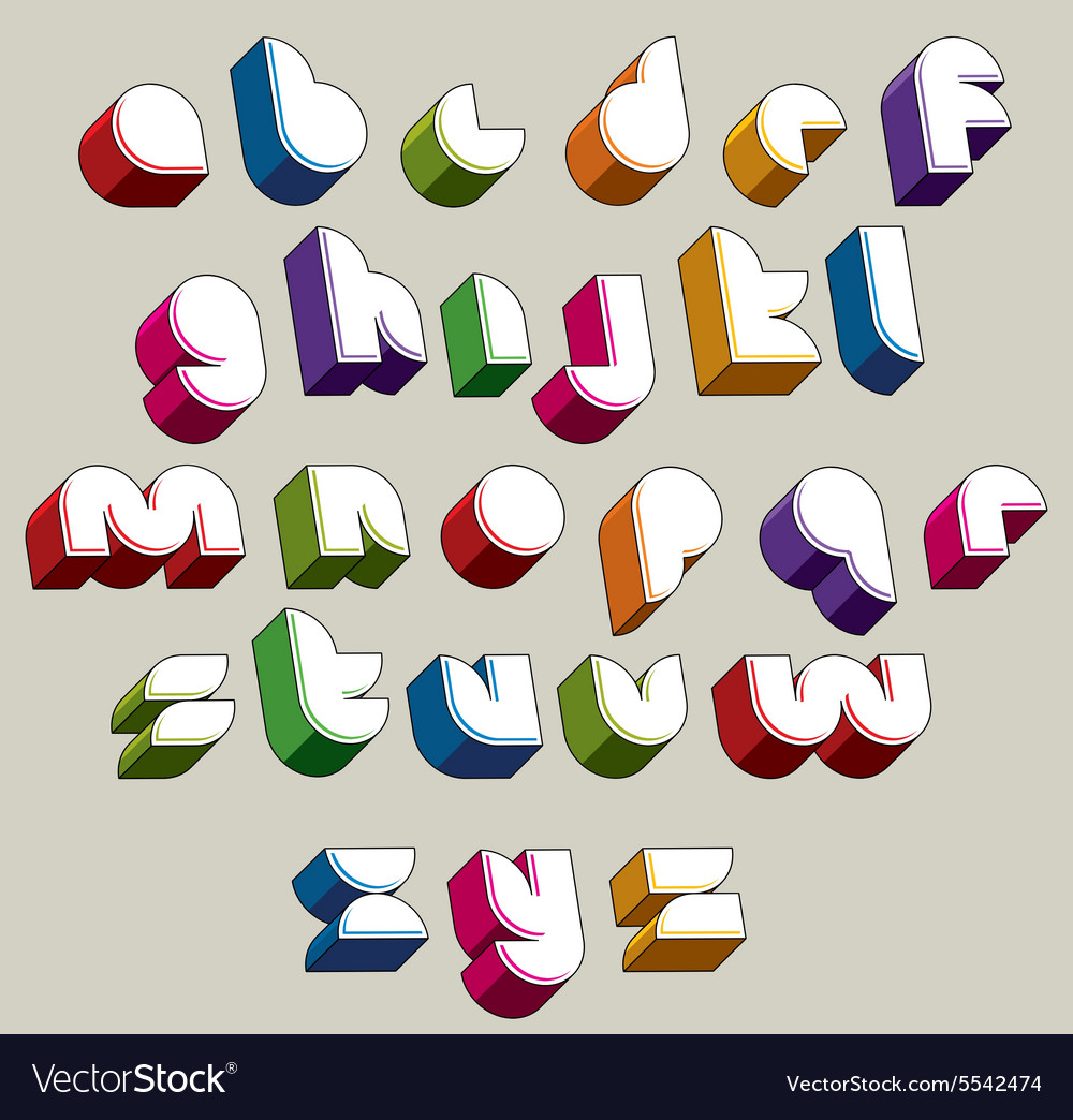 3d futuristic font bright and colorful letters