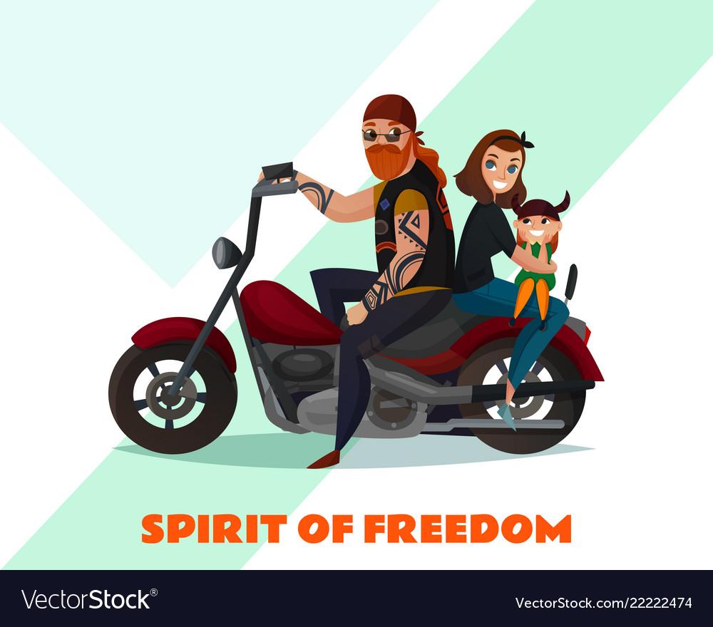 Bikers family cartoon