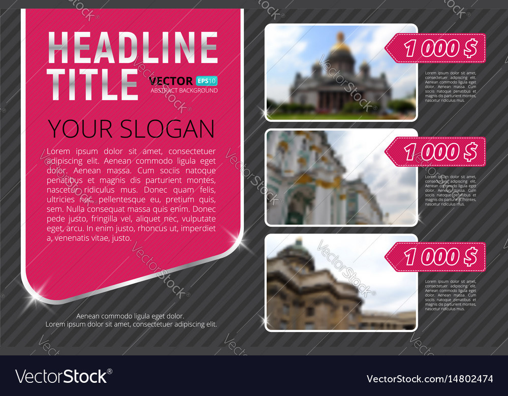 Business flyer or banner template with blur vector image