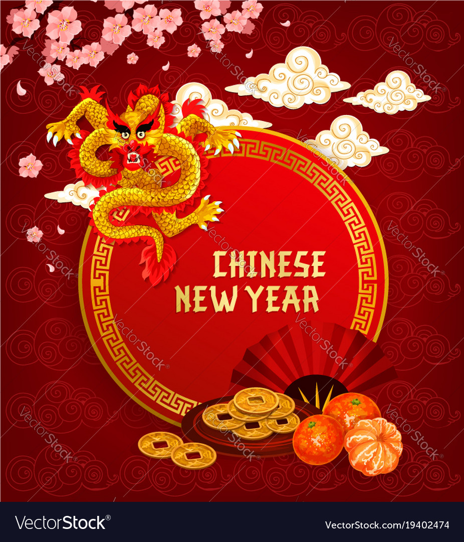Chinese lunar new year greeting card with dragon vector image m4hsunfo