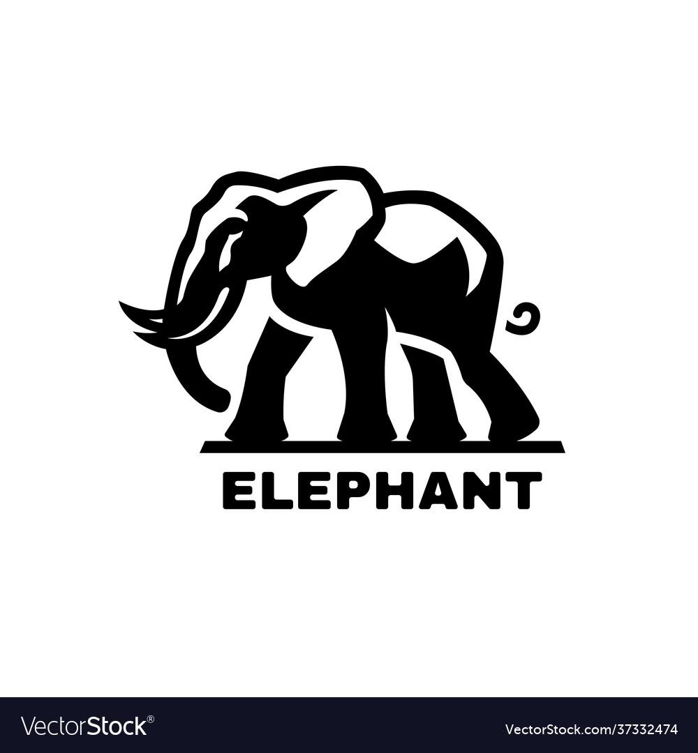 Elephant symbol logo black white style