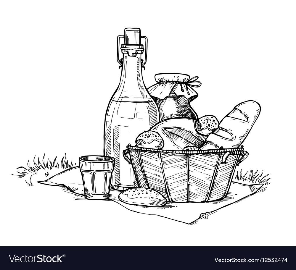 Farm food set freehand pencil drawing