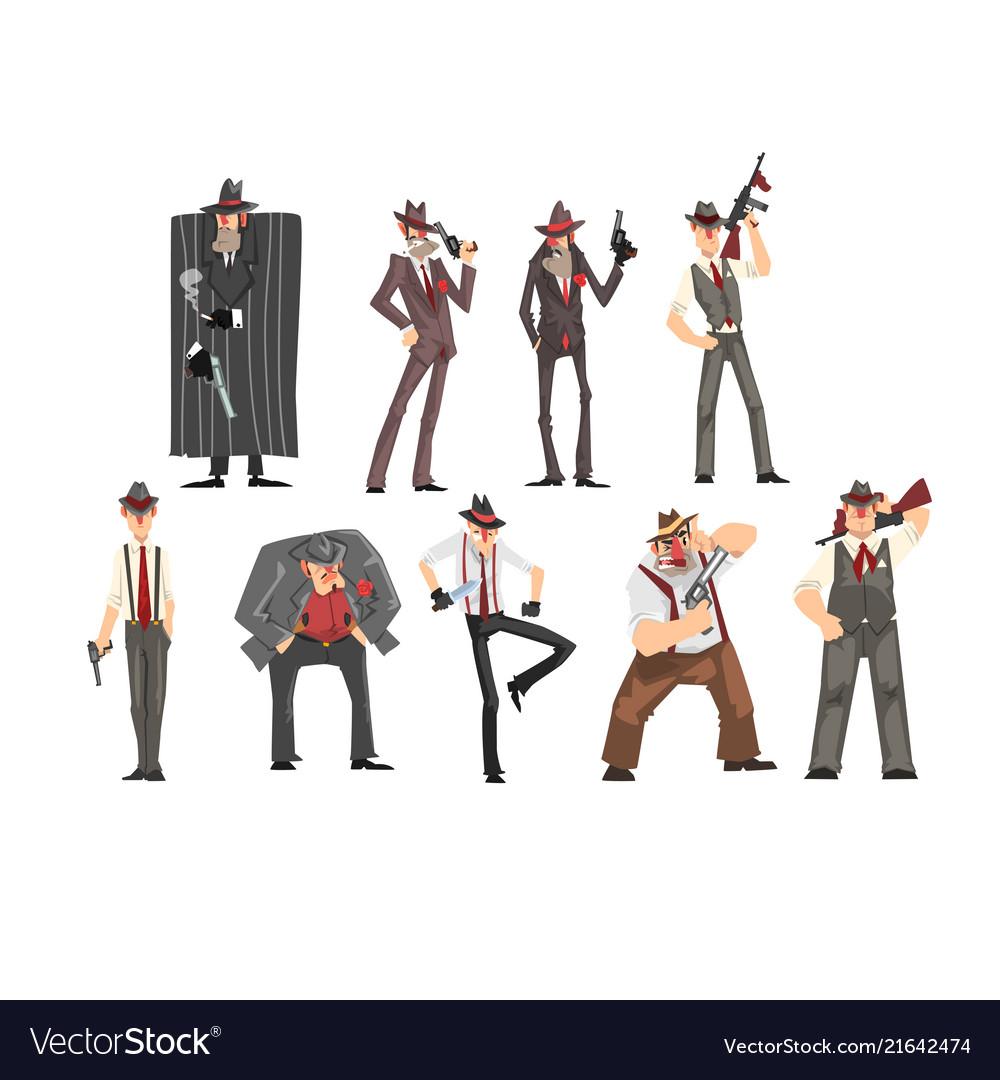 Gangster set criminal characters in fedora hat