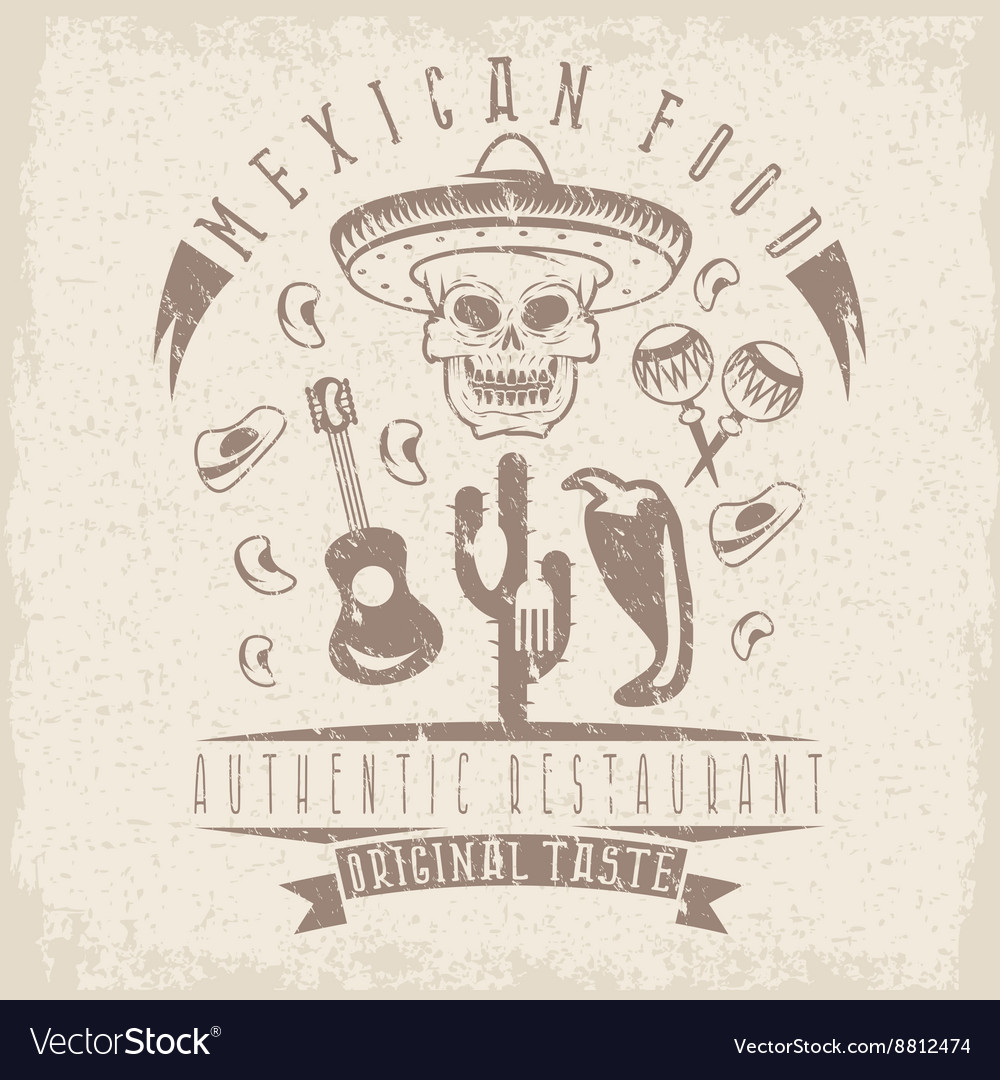 Grunge emblem of restaurant with skull in mexican
