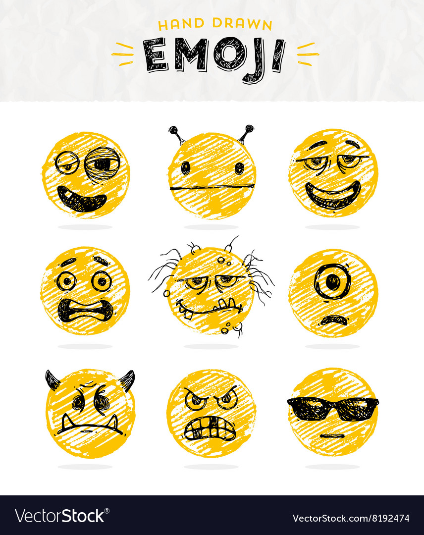 Hand drawn set emoticons