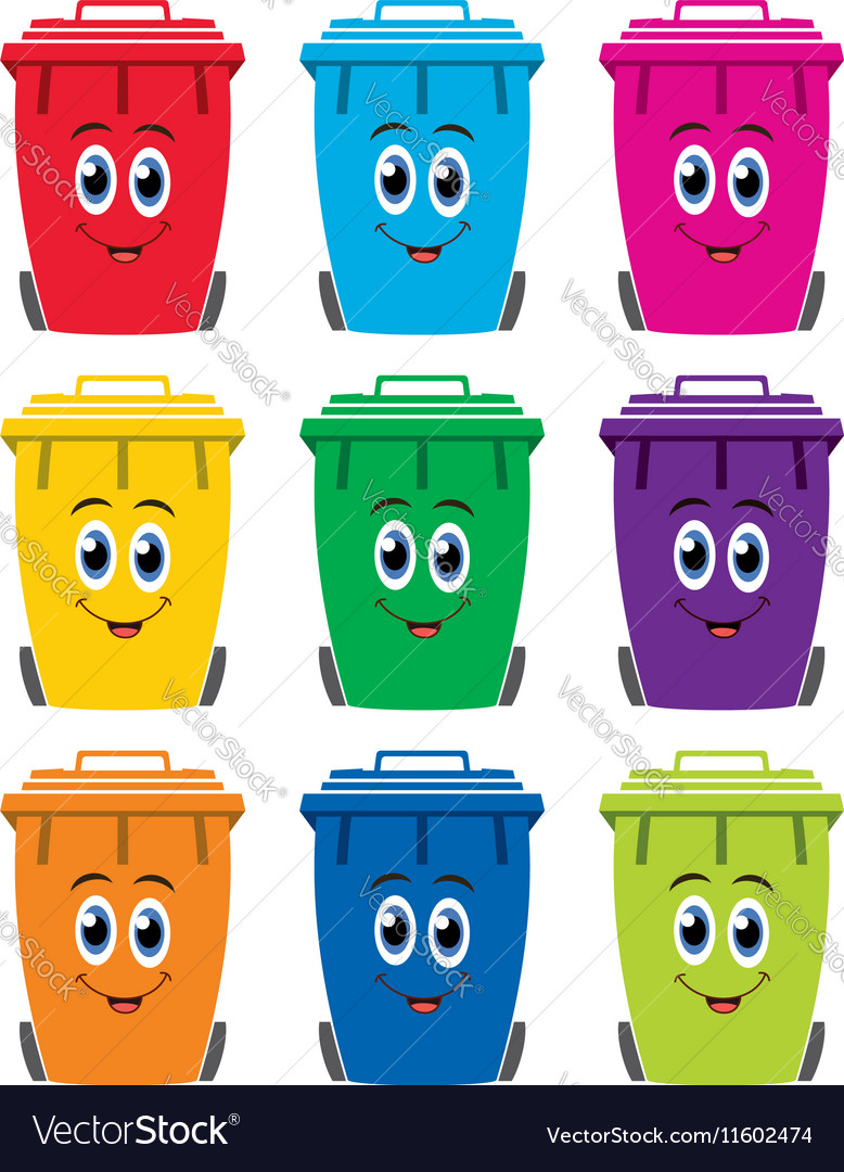 Set of colorful flat recycling wheelie bin icons