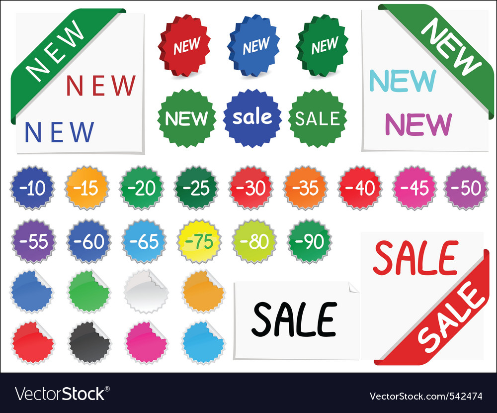 Vector set of tags for discount prices