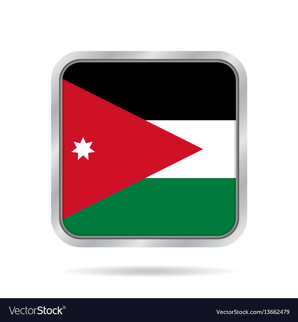 Flag of jordan shiny metallic gray square button