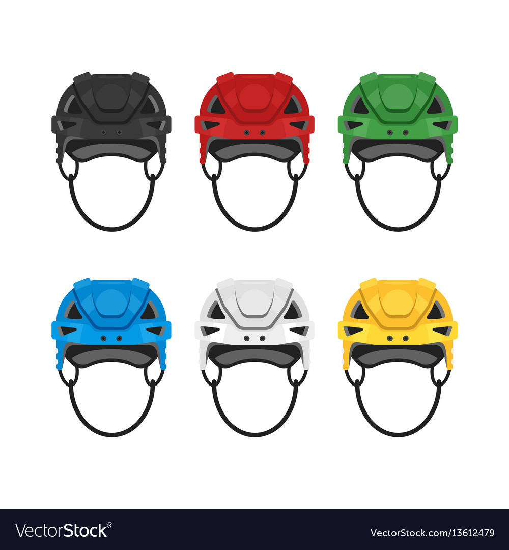 Flat style set of hockey helmet icon for web vector image
