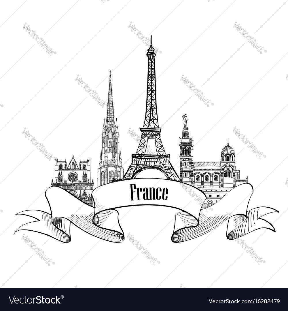 France label famous french landmark set travel